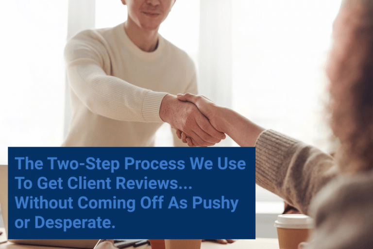 How to Get Client Reviews. Two people shaking hands.