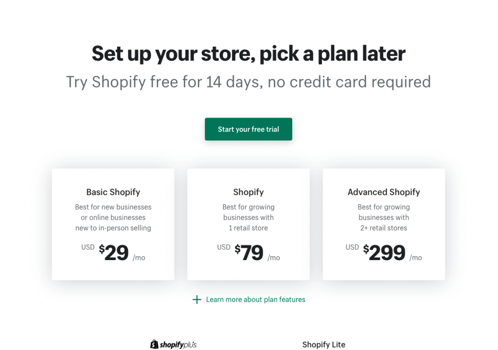 how much does a shopify website cost. shopify pricing table.