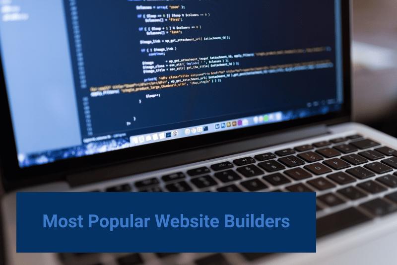 web design cost most popular website builders. laptop showing software code.